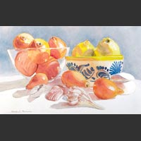 "Bowls, Citrus and Shells - 10½""x17"" unframed"