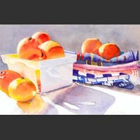 "Tangerines in White Carton and on Hand Towels - 15""x20"" SOLD"