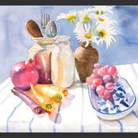 "Carrots, Pomegranate, Grapes, Daisies and Jars - 20""x21½"" SOLD"