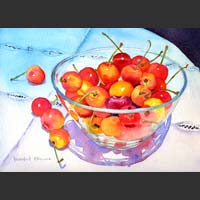 "Cherries in Glass Bowl - 12.5""x16.5"""