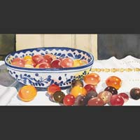 "Cherry Tomatoes in Blue and White Bowl - 17""x26"""