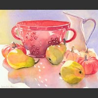 "Red Colander, Pitcher, Pears and Pumpkins - 17½""x20½"""