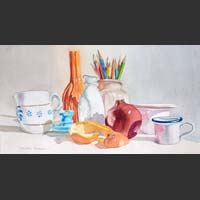Colored Pencils, Containers, Tangerine Peel, Pomegranate