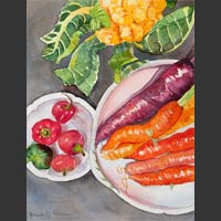 "Fall Farm Stand: Carrots, Peppers & Cauliflower - 9""x18"" unframed"