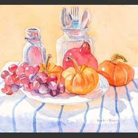 "Grapes, Pumpkins, Pomegranates, Utensils, 12""x13"" unframed"