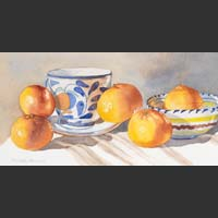 "Italian Cup and Saucer, Bowl and Oranges - 14.5""x19"""