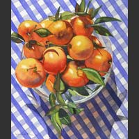 "Mandarins in a Glass Bowl on Blue Checked Cloth - 20""x18"""