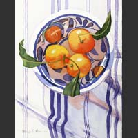 "Mandarins in an Italian Bowl on a Blue Striped Cloth - 18.5""x16"""