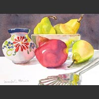 "Mexican Jar, Pears, Pomegranate, Utensil, 13""x16"""