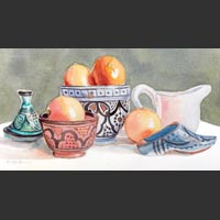 "Moroccan Pottery #2 - 10""x15½"" unframed"