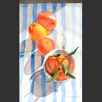 "Oranges and Bowl on Vertical Stripes - 15""x9"" unframed"