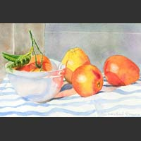"Oranges in Bowl on Stripes	13""�x16.5""�  SOLD"
