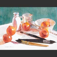 Paintbrushes, Tangerines, White Containers