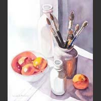 "Paintbrushes, White Containers, Oranges - 18""x15.5"" unframed"