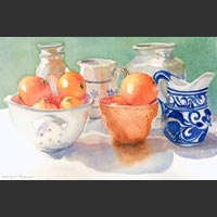 "Pitchers, Containers & Oranges - 16""x21"""