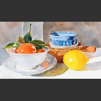 "Plate, Bowls, and Citrus - 11.5"" x 21"" unframed"