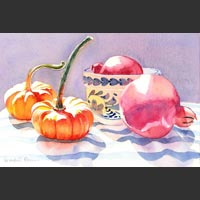 "Pomegranates, Bowl and Pumpkins - 11""x16"" unframed"