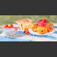 "Pumpkins and Pomegranate on Plate, Basket and Colander with  Tomatoes, 9""x20""  unframed"