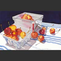 "Rainier Cherries in Two White Cartons - 11""x16"" unframed"