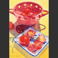 "Red Colander and Tomatoes	- 20.5""x15"""