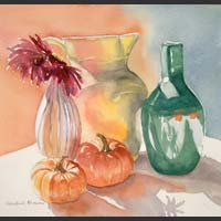 Red Flowers, Pitcher, Vase, Pumpkins