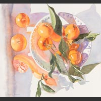 "Bowl and Oranges with Leaves and Shadows - 18""x20"" unframed"