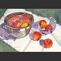 "Two Colanders, Peaches and Mangoes - 15""x20"""