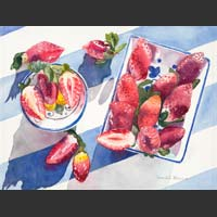 "Strawberries in Bowls on Blue and White - 12""x15.5"""