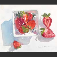 "Strawberries in a White China Carton - 18""x20"""