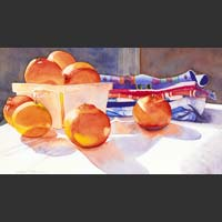 "Tangerines in a White Carton with Hand Towels - 16""x23"""