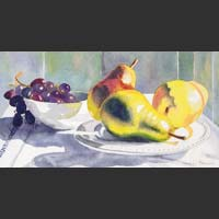 "Three Pears and Grapes in a White Bowl - 8""x15"" unframed"