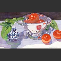 "Colander, Pitcher, Tomatoes and Basil - 10""x17"" unframed"