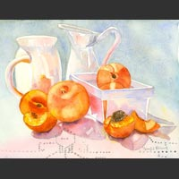 "Two Pitchers, White Carton, Peaches  1, 10""x13"" unframed"