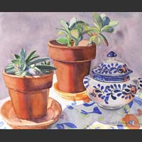 "Pots and Mexican Sugar Bowl on Flowered Cloth - 18""x20"""