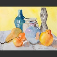 "Vases, Clementines, Orange, and Pear, 15""x18"""
