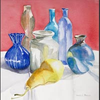"Vases and Yellow Pear, 16""x16"" unframed"