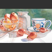 Glass Bowl of Tangerines, Kumquats, Cup and Saucer, Container