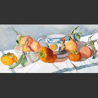 Persimmons, Clementines, Pottery