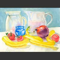 "Two Pitchers, Yellow Squash, Tomatoes and Red Onion, 12""x16"" unframed"