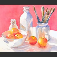 "Vases, Clementines, Orange, and Pear - 18""x20"""