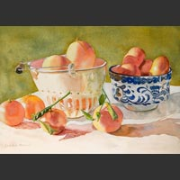 "White Colander, Blue and White Bowl and Oranges, 14""x19.25"" unframed"