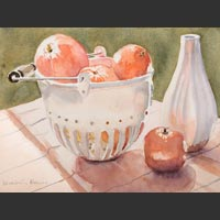 "White Colander and  White Vase with Clementines,  15.5""x19"""