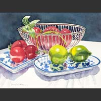 "Wire Basket, Tomatoes and Limes - 14""x21"""